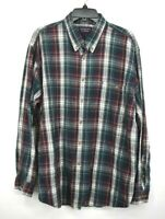 Roundtree & Yorke Mens Green Plaid Button Down Long Sleeve Cotton Shirt 2XL