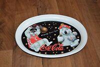Vintage VTG COCA COLA 1997 Sports Polar Bear Brand Tin Tray Collectible Tray
