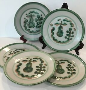 """FAB Set of 5 M.A.Hadley Pottery Green Pear & Grapes 11"""" Dinner Plates VG COND!"""