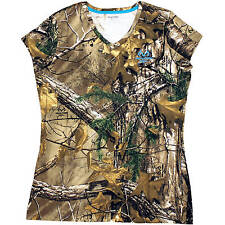 Realtree XTRA Women's/Ladies Camo Short Sleeve V-neck T-Shirts: S-2XL