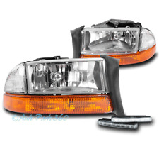 97-04 DODGE DAKOTA/98+ DURANGO CHROME HEAD LIGHT LAMP+AMBER BUMPER W/DRL LED KIT