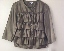 Jaipur Ruffled Womens Small S Green Button-Up Ruffle Fashion-Blazer Jacket NWT
