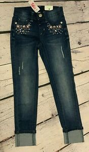 New Girls Justice Jean Leggings Rhinestone Destroyed Dark Wash Jeggings Mid Rise