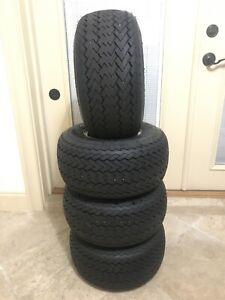 Set Of 4 - Kenda 18X8.50-8 Take Off Golf Cart OEM Tires & Wheels - 90%+ Tread
