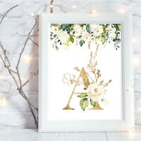 Personalised A4 Print,Gold, Floral, Baby, Family, Name, Gift, Wall Art-NO FRAME