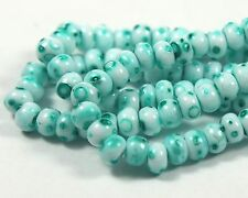 "Czech Glass Seed Beads 6/0 Terra Marble Looked "" SPECKLE PEPPER MINT "" Strands"