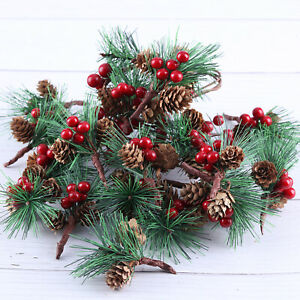 20pcs Christmas Red Berry Stems Artificial Pine Pick Tree Xmas Flower Decoration