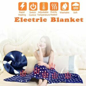 Electric Heated Throw Over Under Blanket Flannel Washable Warm Mattress Control