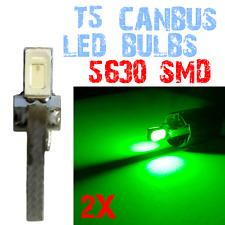 2Lampadine T5 LED CANBUS 5630 Dashboard Interior Light Car Interior GREEN 2E9 2E