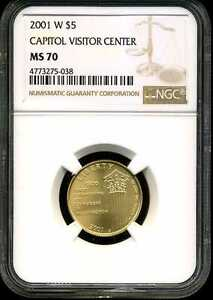 2001-W $5 Capitol Visitor Center Gold Commemorative MS70 NGC 4773275-038