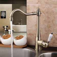 Solid Brass Kitchen Sink Faucet Single Hole Swivel Spout Antique Basin Mixer Tap