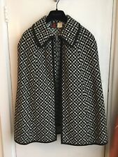 Welsh Wool Cape L (14uk) Pure New Wool Survêtement Black/White 60's-70's Meirion Mill