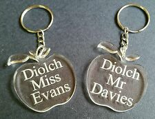 DIOLCH teacher acrylic apple key ring personalised WELSH ENGRAVED