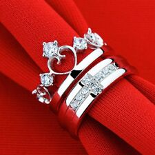 Crown 1 Pair Silver Couple Wedding Queen Rings Couple Rings Band Her And His
