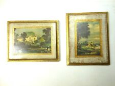 "Two Vintage Florentine Wood Scenic Plaques 5 5/8"" X 4 1/2"" Gilded Landscape"