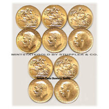 Lot of 10 British Sovereigns Pre-1933 BU George V Fractional Gold Bullion coins