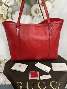 GUCCI LARGE RED BORSA NICE MICROGUCCISSIMA RED LEATHER TOTE/SHOULDER BAG NWTS