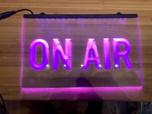 Neon On Air Sign - clear acrylic, 30 x 19 cm, pink lettering