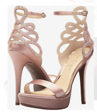 e138fd13241 NIB Jessica Simpson Bayvinn Nude Blush Satin Crystal Cutout Platform  Sandals 9.5