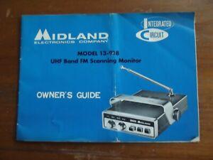 Vintage, Midland Radio, Model 13-918, UHF FM Scanning Monitor, Owner's Guide NOS