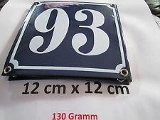 Hausnummer  Emaille Nr. 93  weisse Zahl auf blauem Hintergrund 12 cm x 12 cm