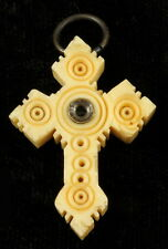 "RARE VICTORIAN SMALL CROSS ""STANHOPE"" CARVED CROSS 1 3/4"""
