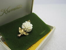 """Vintage Krementz Carved Rose Brooch, 24kt Gold Overlay, In Original Box, 1.5"""""""