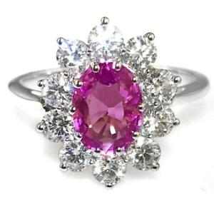 2.50ct Natural Pink Sapphire, F VS Diamond and 18ct White Gold Engagement Ring