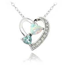 925 Silver Diamond Accent Blue Topaz & Created White Opal Triple Heart Necklace