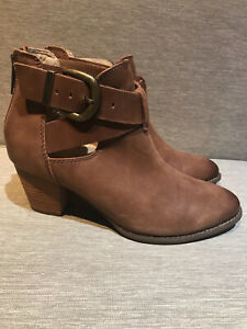 Vionic Upright Rory Bootie Brown Waxed Leather Heels Boots Womens Sz 8