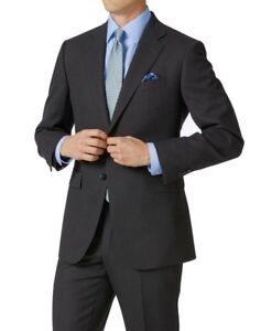 NEW Charles Tyrwhitt Charcoal Classic Fit Birdseye Travel Suit Jacket 46R