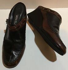 ec24ddb0e1e50b Van Eli 7M 7 Medium Black Brown Wedge Heels Mules Slip Ons