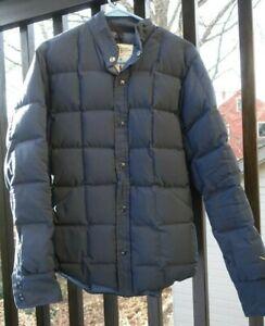 Crescent Down Works Jacket Shirt nylon navy blue American Trench sz M
