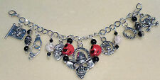 *Handcrafted Gothic Pagan Rock Punk Style 7 Charm Silver Plated Chic Bracelet*