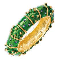"""Jacqueline Kennedy 24k Gold Finish Crystal Green Enameled Fashion Bangle 8"""""""