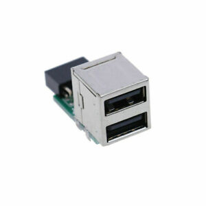9 Pin Motherboard to Dual 2 Ports USB 2.0 Female Internal Header Adapter