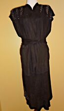 VTG Custom Made Black Faux Suede Embellished Open Front Cardigan & Skirt sz 8-10
