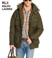 RLX Ralph Lauren down parka olive green coat jacket fur hood leather military S