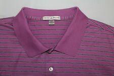 PETER MILLAR Men's XXL Purple w/ Black & White Striped Golf Polo Shirt