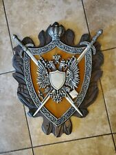 Large wooden cast metal Gothic Crest Coat Of Arms Shield Wall Plaque Vintage 25