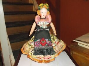 """Vintage Antique Composition Head - Cloth Body Jointed Boudoir 16"""" Doll"""