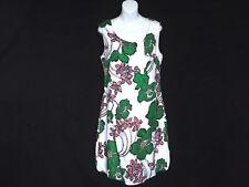 Escada Sport Sz 42 Sleeveless Shift Dress Scoop Neck Green Pink Floral Poof Hem