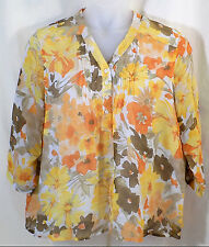 Coldwater Creek Blouse Size 1X Semi Sheer Gold Floral Pullover 3/4 Sleeve V Neck