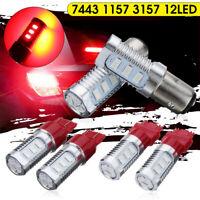 4PCS 12V Red 7443 LED Bulb Flash Strobe Light Blinking Rear Brake Tail Lamps