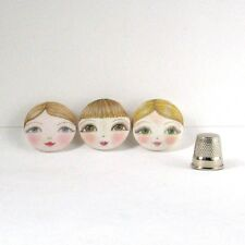 Sewing Supplies Doll Face Sewing Buttons pack of 3 by Zouzou Design