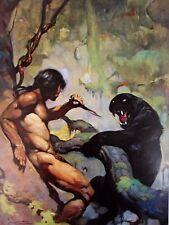 Vintage Frank Frazetta Art BLACK PANTHER 1972 Tarzan Native Knife Wild Cat