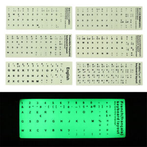 Keyboard sticker letters ultrabright luminous fluorescence For Arabic,,English