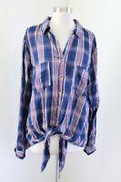 NWT Tinsel Stitch Fix Blue Red Plaid Button Down Tie Front Blouse Shirt Size XXL