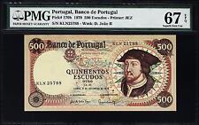 PORTUGAL BANCO DE PORTUGAL 500 ESCUDOS 1979 PMG 67 SUPERB GEM UNC EPQ P 170b