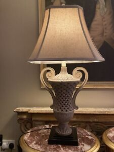 """Large Vintage """"uttermost"""" Lattice Urn  Table Lamps With Silk Shade"""